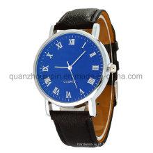 Relógio de quartzo de pulso de metal de moda OEM com pulseira de couro