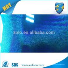 2015 emballage anti-contrefaçon vente chaude film de stratification holographique transparent bleu