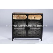 Cabinet de fer en métal industriel et en bois à 2 tiroirs