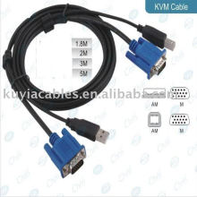 Negro 6FT Cable USB 2.0 KVM Trabajar con conmutadores KVM USB
