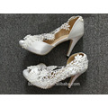 Encaje ahueca hacia fuera la boca de los pescados zapatos de tacón alto de las mujeres wedding los zapatos WS049