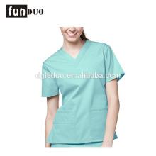 Mulheres hosopital vestido verde uniforme de manga curta uniforme de enfermeira