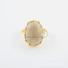 Smoky Quartz 925 Sterling Silver Fashion Ring for Wedding