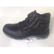 Sapato de segurança de trabalho com Split superior em relevo couro solado PU