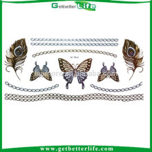 Getbetterife colorful butterfly design, metallic flash tattoo sticker, easy tattoos for beginners