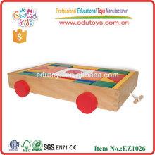Wholesale Classic Toys Wooden Blocks Cart Kindergarten Blocks