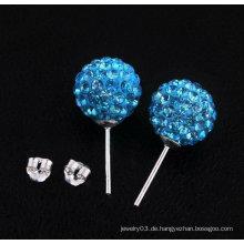 925 Sterling Silber Blau Shamballa Ohrringe Basketball Frauen Ohrringe BWE26