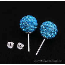 925 Sterling Silver Blue Shamballa Earrings Basketball Wives Earrings BWE26