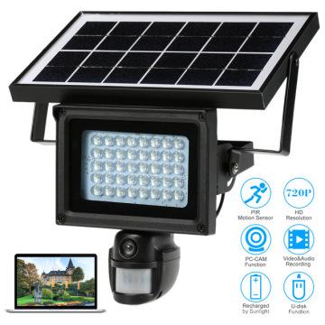 Cámara de reflector CCTV IP wifi oculta con energía solar y detección de movimiento pir inalámbrico