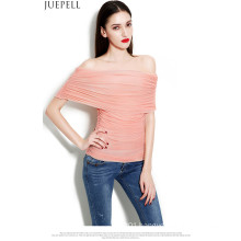 New Spring and Summer Women′s Multicolour One Word Shoulder Sexy Gauze Ruffle Blouse Temperament Slim Bottoming Wild Women Silk Top