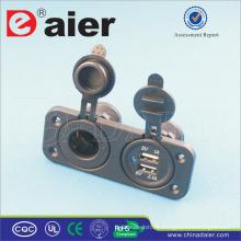Daier neue 12-24V hinten zwei Loch Panel Mini Auto Motorrad Ladegerät Dual USB Power Socket Splitter