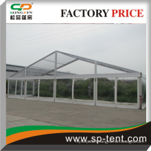 aluminum event tent with flame retardant fabric for outdoor ceremony