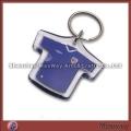 Lovely transparent polished T-shirt-shaped promotional acrylic/lucite keychain/key ring/key holder w