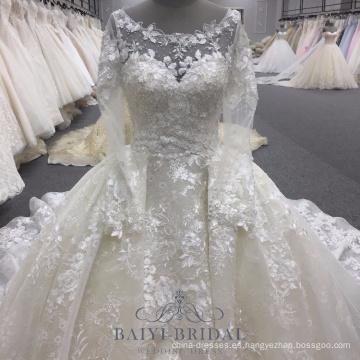 Vestido largo musulmán de lujo de la manga de las nuevas llegadas del blanco del vestido de bola de la boda