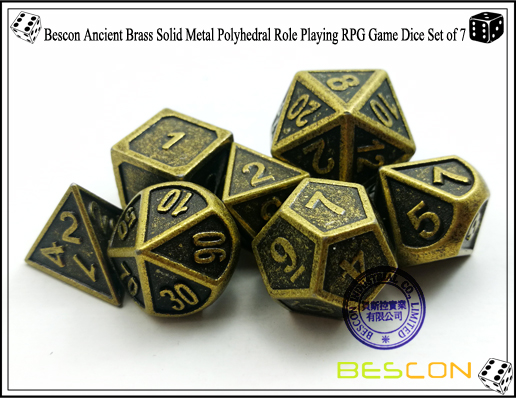 Bescon New Style Ancient Brass Solid Metal Polyhedral Role Playing RPG Game Dice Set (7 Die in Pack)-5