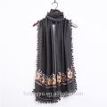 Fashion embroidery tassel scarf premium cotton viscose hijab