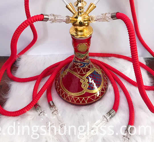 metal red four tube glass hookah