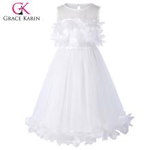 Grace Karin Blume verzierte ärmellose Crew Neck weißes Blumenmädchen Prinzessin Festzug Party Kleid CL010456-2