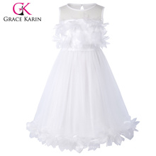 Grace Karin Flower Decorated Sleeveless Crew Neck White Flower Girl Princess Pageant Party Dress CL010456-2
