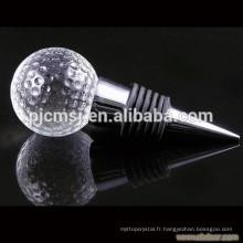 Bouchon de vin en cristal de forme de boule de golf pour la décoration à la maison