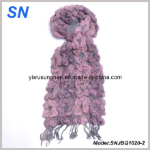 Fashion Skinny Stripe Checked Winter Warm Ruffle Bubble Scarves