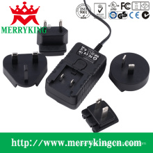 12W Series Wall Mount AC/DC Adapter with Exchangeable AC Plugs