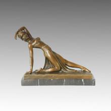 Танцовщица Бронзовая скульптура Леди Декор Статуя из латуни TPE-175