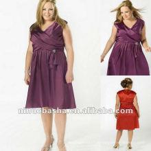 Satin V-Ausschnitt kurz mit Kappe Ärmel Abendkleid 2012