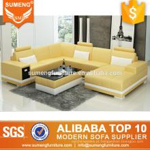 estilo europeu moderno sala de estar fantasia 6 lugares conjunto de sofá de couro branco amarelo