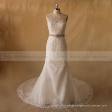 Romantique Graceful Lace Illusion Back Well Fitting Robe de mariée Beading On Belt