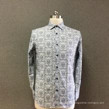 Camisa de manga larga con estampado gris de algodón para hombre.