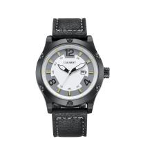 Reloj de pulsera 6869 para hombre talla 48 mm, correa de cuero para caja metálica Ss Hebilla IP negro plateado