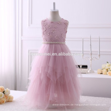 2017 aliexpress heißer Verkauf lange Design Baby Mädchen Blumenkleid unregelmäßigen Design Party Mädchen Kleid mit weichen Schärpe und Perlen Gürtel