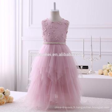 2017 aliexpress vente chaude longue conception bébé fille fleur robe Irrégulière conception fille de soirée robe avec ceinture souple et ceinture perlée