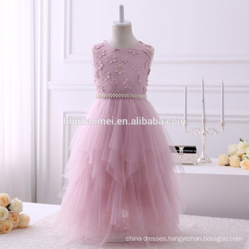 2017 aliexpress hot sell long design baby girl flower dress Irregular design party girl dress with soft sash and beaded belt