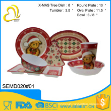 high quality custom melamine 7pc christmas dinnerware set