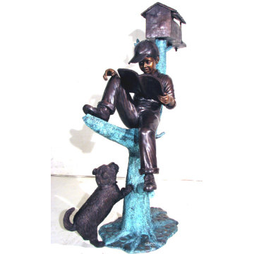 Livre de lecture de garçon de bronze sur la sculpture d'arbre BS023A