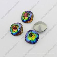 Perles de verre lâches de cristal de dos carré de point (DZ-3010)