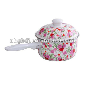 full rose decals enamel saucepan with ss handls or bakelite handles
