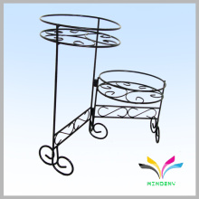 Outside metal garden wrought iron wall flower shelf 2 holders adding fresh air