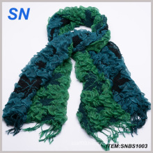 Green Ruffle Bubble Winter Warm Scarf