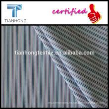 tela de la camisa de la armadura de hilo de algodón de diseño 100 Raindow color teñido de diseño de la raya a lo largo de popelín