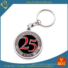 Number Round Shape Metal Keychain