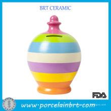 Strip Rainbow Color Ceramic Piggy Bank Coin Money Pot