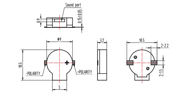 9x9x3.2mm SMD Magnetic Trasducer Buzzer 3V 85db