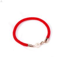 Bracelet à cordes en corde rouge tissé or rose en acier inoxydable fait sur mesure
