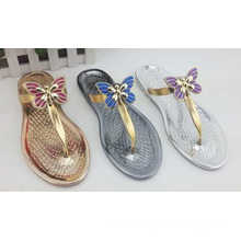 Cheap Lady Beach Sandal PVC Slipper Jelly Shoes (SWT)
