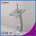 Fyeer High Arc Single Handle Хромированное стекло Квадратный сливной умывальник Смеситель для воды Смеситель Wasserhahn