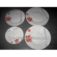 Ensemble de plaque de dégustation en céramique ronde blanche Haonai, assiettes à dîner