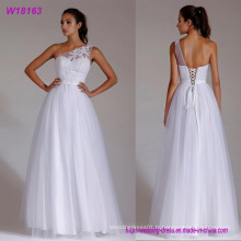 Robe de mariée en dentelle une épaule blanche A-ligne dentelle jusqu'au sol